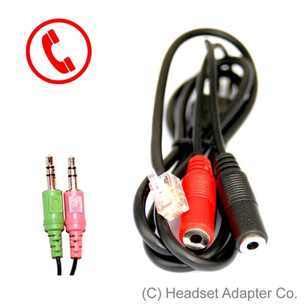 PC headset adapter for conventional phone